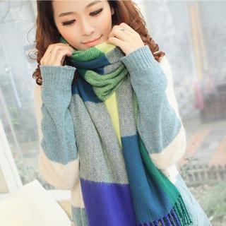 【幸福揚邑】羊絨質感格紋保暖圍巾/披肩(藍綠格)