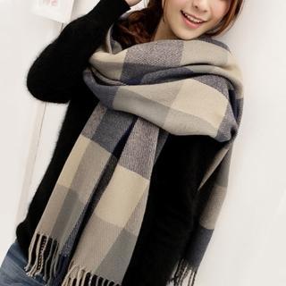 【幸福揚邑】羊絨質感格紋保暖圍巾/披肩(藍灰格)