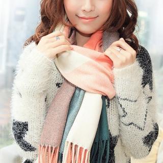 【幸福揚邑】羊絨質感格紋保暖圍巾/披肩(粉綠格)