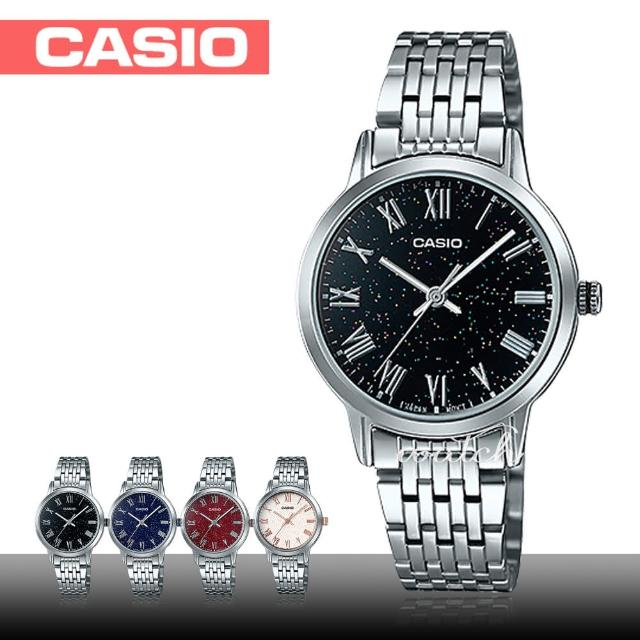 【CASIO 卡西歐】送禮首選_不鏽鋼錶帶_礦物玻璃_防水_羅馬數字_氣質女錶(LTP-TW100D)