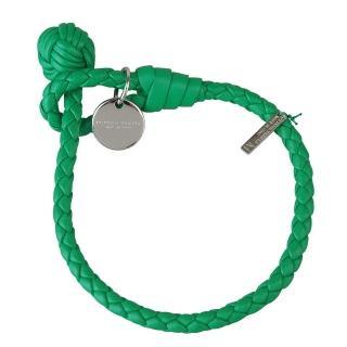 【BOTTEGA VENETA】經典純手工編織單環細嫩小羊皮手環(M/草綠)