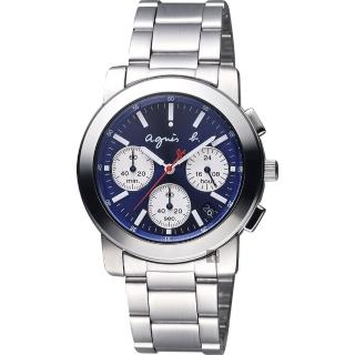 【agnes b.】自由國度三眼計時腕錶-藍x銀/38mm(V654-KP30B  BT3029X1)