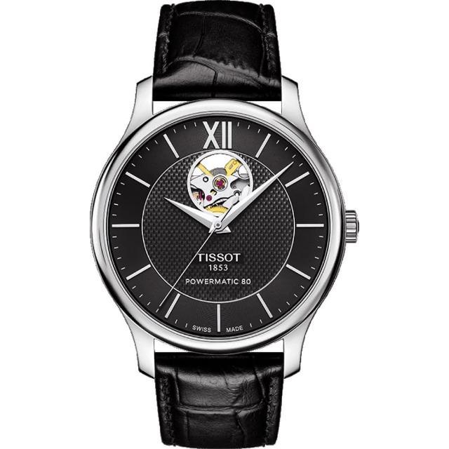 【TISSOT】天梭 Tradition 80小時動力鏤空機械腕錶-黑/40mm(T0639071605800)