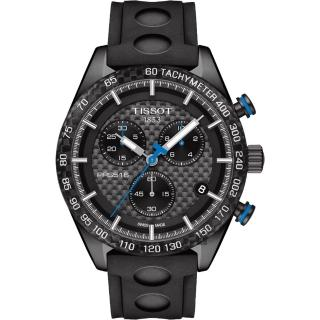 【TISSOT】天梭 PRS516 三眼計時腕錶-黑/42mm(T1004173720100)