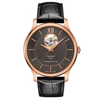 【TISSOT 天梭】Tradition 天梭80小時開芯鏤空機械錶(40mm/T0639073606800)