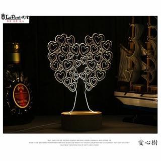 【LEPONT】北歐3D立體 USB LED創意小夜燈-愛心樹