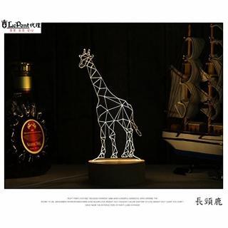 【LEPONT】北歐3D立體 USB LED創意小夜燈-長頸鹿