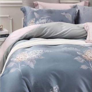 【SANDRA仙朵拉】100%純天絲TENCEL雙人加大七件式兩用被床罩組(戀人_灰 雙人加大6x6.2尺)