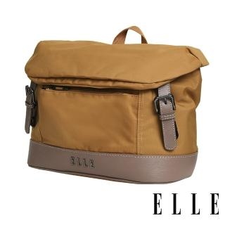 【ELLE】時光旅人系列-大容量10吋IPAD 橫式休閒手提/斜背包(日光駝 EL83482-49)