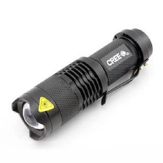 【LOTUS】迷你袖珍型手電筒 CREE Q5 LED燈泡 三檔切換 可變焦