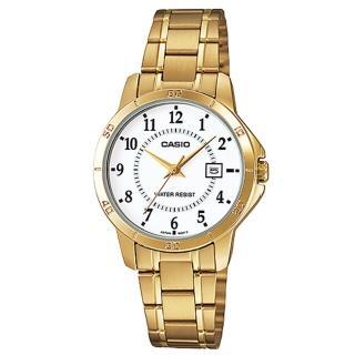 【CASIO】經典淑女時裝時尚金數字指針腕錶(LTP-V004G-7B)