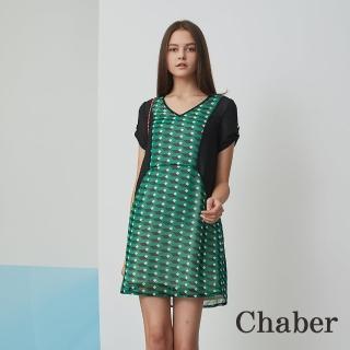 【ICHE 衣哲】幾何印花拼接修身綠洋裝