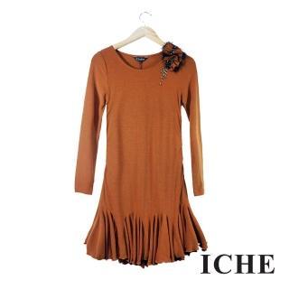 【ICHE 衣哲】荷葉波浪長袖咖啡洋裝