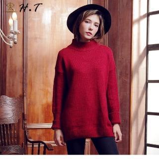 【玄太】簡約半高領寬鬆保暖長版毛衣(紅)