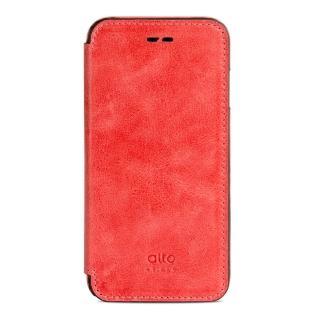 【alto】iPhone 7 側翻式皮革手機套 Foglia - 珊瑚紅(alto  義大利真皮皮革)