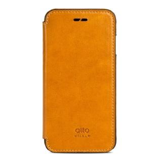 【alto】iPhone 7 側翻式皮革手機套 Foglia - 焦糖棕(alto  義大利真皮皮革)