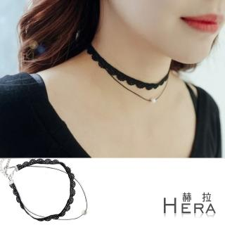 【Hera】赫拉 蕾絲花邊雙層綴珍珠短款項鍊/鎖骨鍊/頸鍊(黑色)