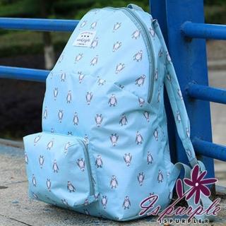 【iSPurple】動物馬卡龍*摺疊防水後背包/藍企鵝