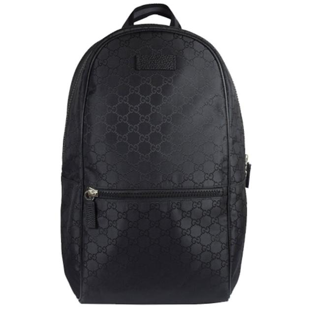 【GUCCI】經典雙G緹花緞面皮飾邊厚棉後背包(黑)