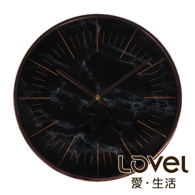 【LOVEL】30cm大理石玫瑰金框靜音壁掛時鐘-黑(MP721-BK)