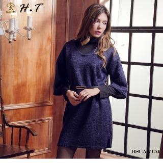【玄太】摩登亮彩側開叉七分袖洋裝(藍)