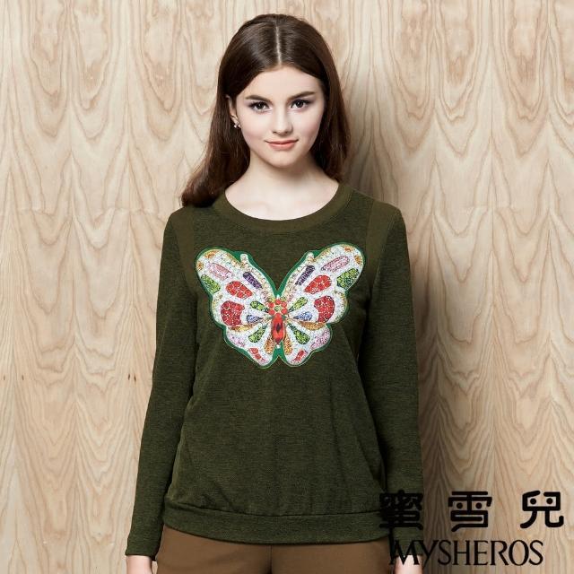 【蜜雪兒mysheros】圓領蝴蝶貼布柔軟彈性上衣(綠)