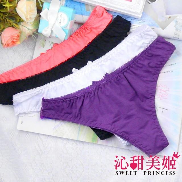【沁甜美姬】性感丁字褲-5色 背部奢華貴氣印花 牛奶絲情趣系(天姿動人)