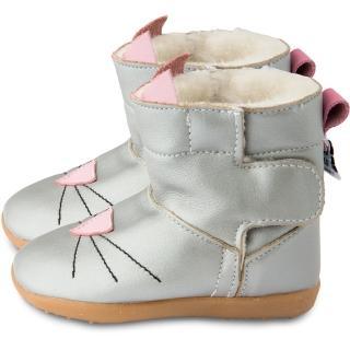 【英國 shooshoos】健康無毒真皮手工童鞋/靴子_銀色貓咪_102766(公司貨)