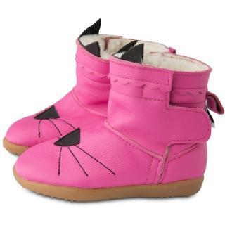 【英國 shooshoos】健康無毒真皮手工童鞋/靴子_桃紅貓咪_102767(公司貨)