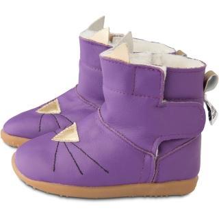 【英國 shooshoos】健康無毒真皮手工童鞋/靴子_紫色貓咪_ 102768(公司貨)