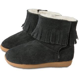 【英國 shooshoos】健康無毒真皮手工童鞋/靴子_ 黑色流蘇_102748(公司貨)