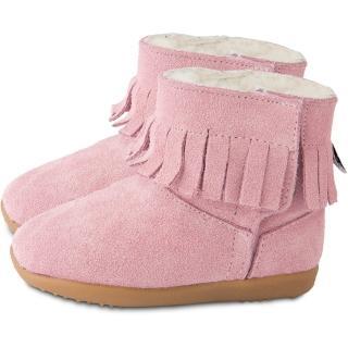 【英國 shooshoos】健康無毒真皮手工童鞋/靴子_淡粉流蘇_102749(公司貨)