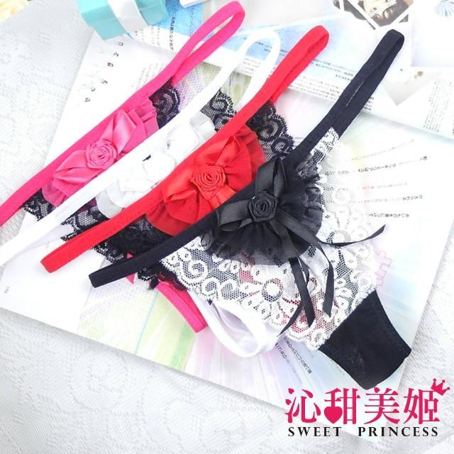 【沁甜美姬】丁字褲-4色 性感奢華 古典印花 柔紗情趣系(紅顏玉色)