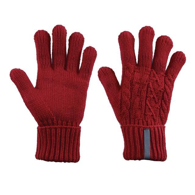【ATUNAS 歐都納】女款編織保暖手套(A-A1402W 暗紅)