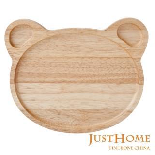 【Just Home】小熊造型橡膠木餐盤(台灣製)