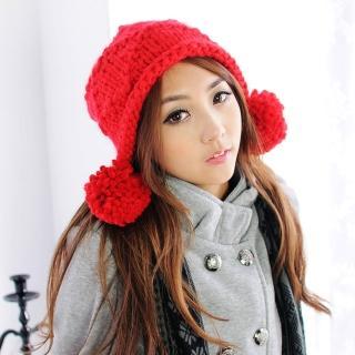 【Lady c.c.】可愛百搭樂園球球毛線帽(紅)