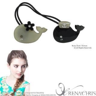 【Rena Chris】鯨魚寶寶嬉遊 ˙雙頭髮束(Black)