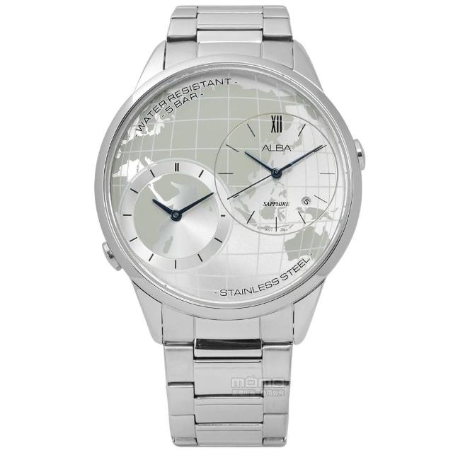 【ALBA】率性遊玩世界日期藍寶石水晶玻璃不鏽鋼手錶 銀色 45mm(DM03-X002S.AZ9013X1)