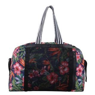 【adidas Y-3】潮流時尚海灘風格精品旅行袋(黑/花卉)