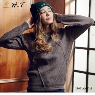 【玄太】簡約寬鬆造型織紋圓領毛衣(灰)