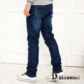 【Dreamming】加厚刷毛剪接刷色伸縮小直筒牛仔褲