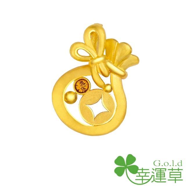 【幸運草clover gold】金袋財 水晶+黃金墜
