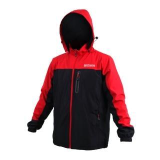 【FIRESTAR】男拆帽風衣外套-防風 防潑水 保暖 刷毛 立領 連帽(黑紅)
