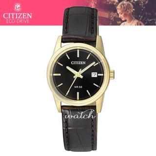 【CITIZEN 日系星辰】氣質必備_皮革錶帶_日期顯示_礦物玻璃_指針女錶(EU6002-01E)