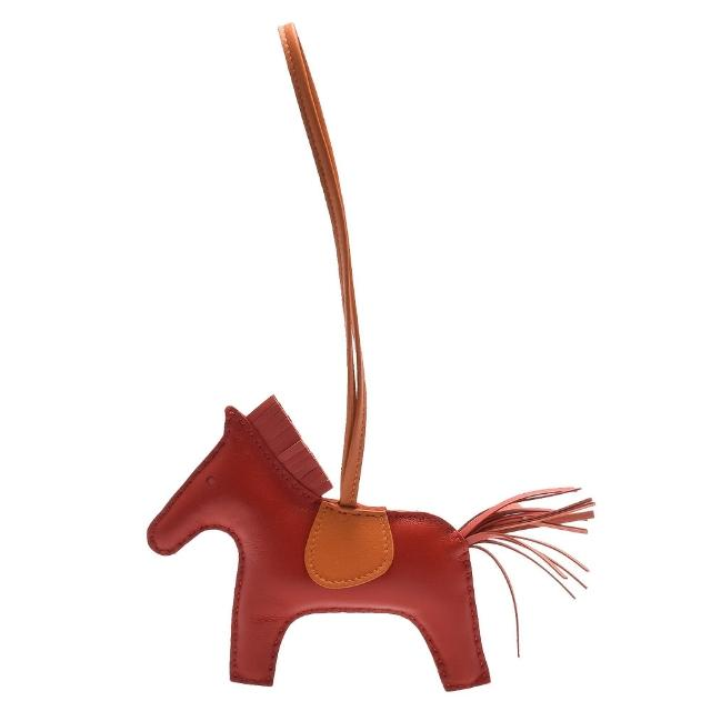 【HERMES】RODEO GM 馬兒造型拼色小羊皮鑰匙圈/吊飾(大-紅X橘H064931CA-RED-ORG)