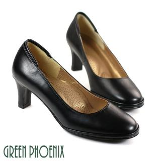 【GREEN PHOENIX 女鞋】優雅質感牛皮素面圓頭中粗跟鞋(黑色)