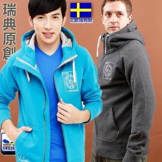 【北歐-戶外趣】瑞典款 男款連帽厚磅棉極地禦寒外套(LA440402 炭灰/藍綠)