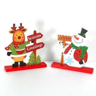 【聖誕裝飾品特賣】麋鹿雪人木質擺飾對組(一組兩入)