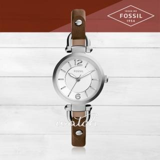 【FOSSIL】氣質首選_皮革錶帶_礦物玻璃_指針女錶(ES3861)