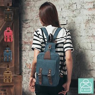 【89.Alley】後背包/斜胸包 帆布配真皮兩用系列 防盜雙排扣款 男女適用(4色)